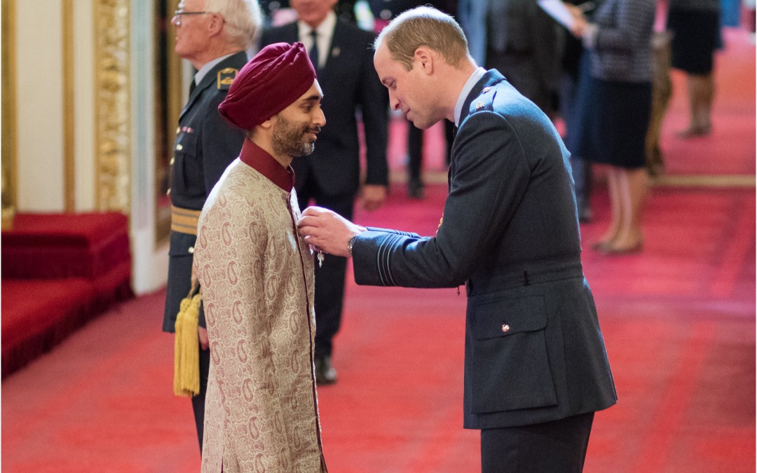 Founding Chair of City Sikhs, Jasvir Singh, receives OBE from Prince William, Duke of Cambridge
