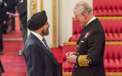 Jagdev Singh Virdee, Editor of the British Sikh Report, receives MBE from Prince Charles, the Prince of Wales
